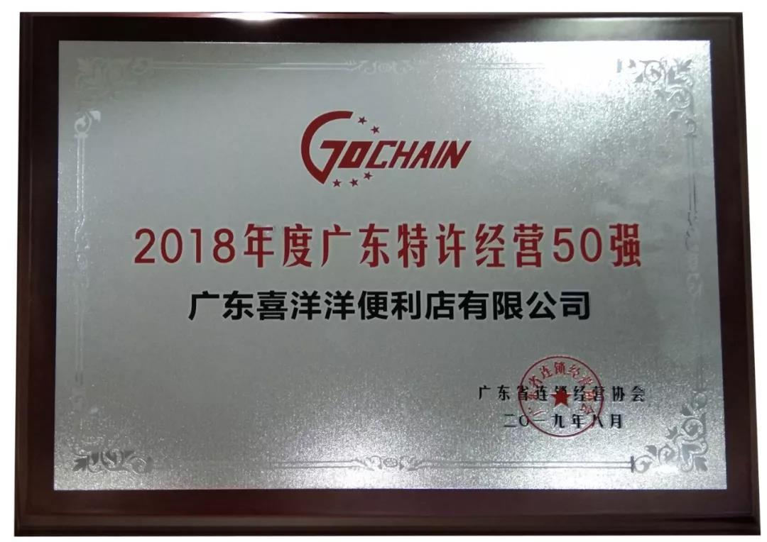 2018年度广东特许经营50强企业